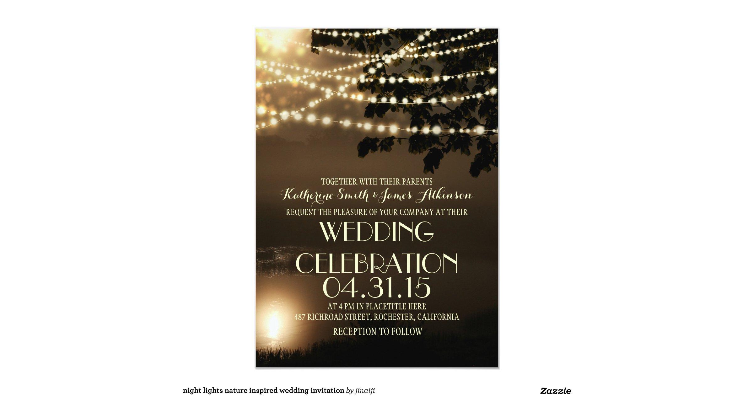 Nature Themed Wedding Invitations Night Lights Nature Inspired Wedding Invitation