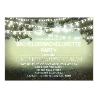 night lights rustic Bachelor/Bachelorette party 5x7 Paper Invitation Card