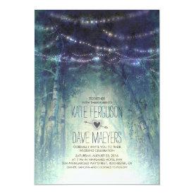 Night Lights Rustic Woodland Wedding Invitations