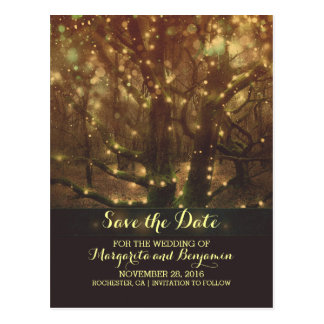 Night Lights Trees Rustic Save The Date Postcards