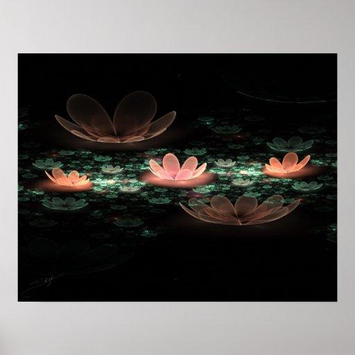 Night Lilies Fractal Art Poster