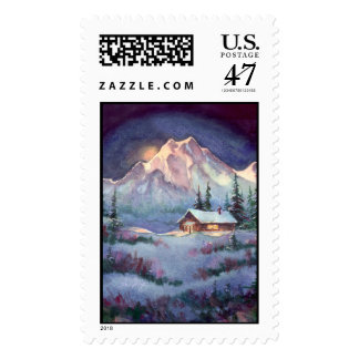 NIGHT LOG CABIN by SHARON SHARPE Postage