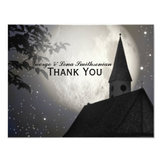 Night Moon Country Church Thank You 4.25x5.5 Paper Invitation Card