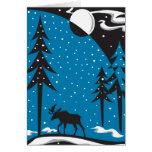 Night Moose Christmas Scene Greeting Cards