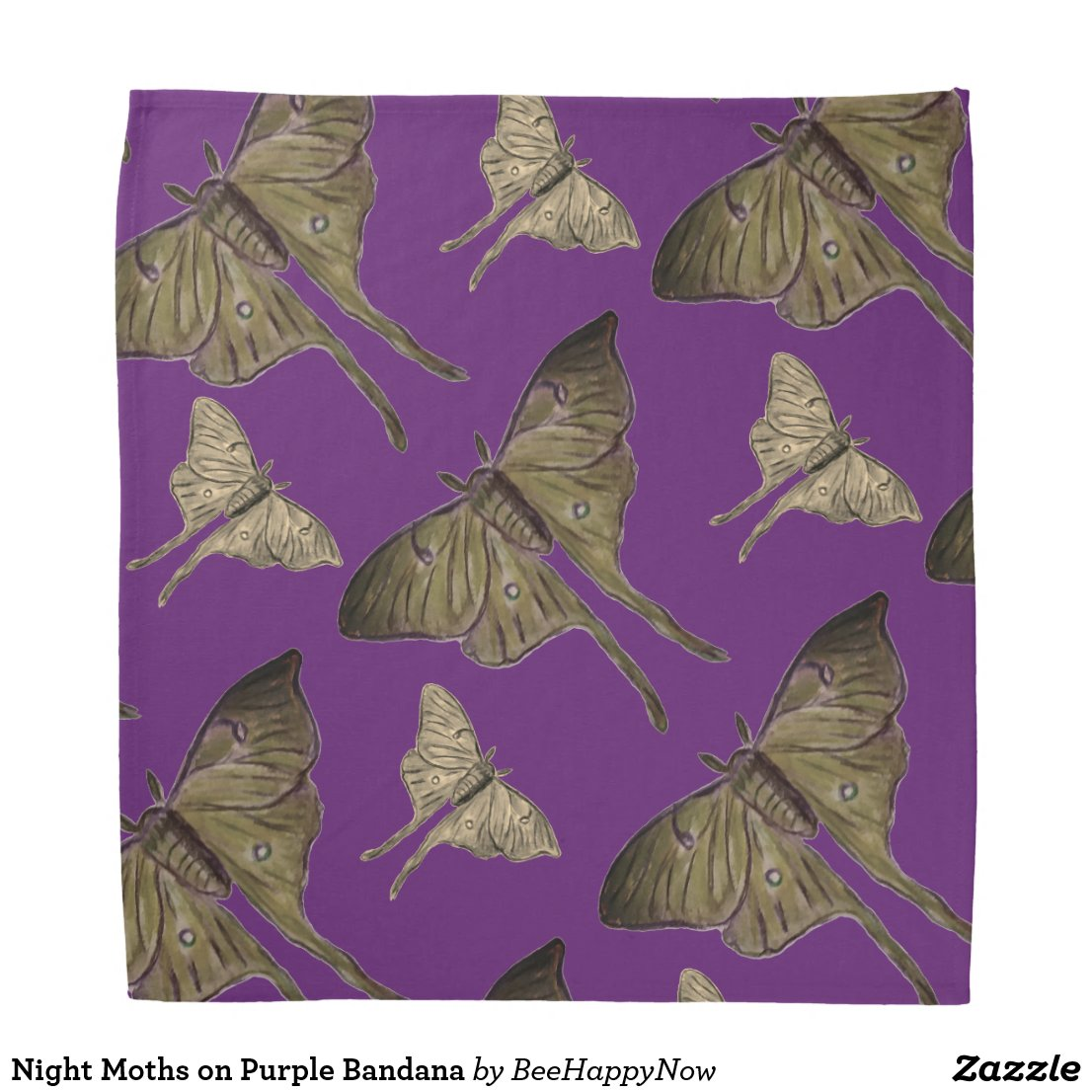 Night Moths on Purple Bandana