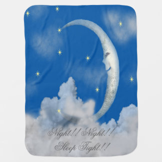 NIGHT NIGHT SLEEP TIGHT MAN IN THE MOON BABY COVER RECEIVING BLANKET