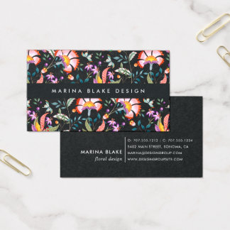 Night Oasis Floral Pattern Business Card