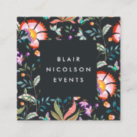 Night Oasis | Floral Pattern Square Business Cards