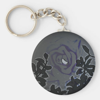 Night of a Blue Moon Rose Keychain