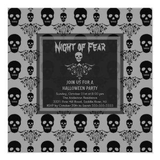 Night of Fear SKULL Halloween Party Invitation