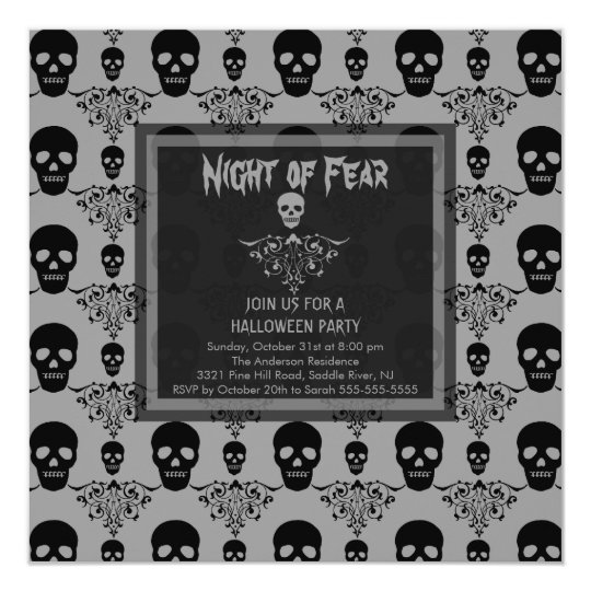 Night of Fear SKULL Halloween Party Invitation