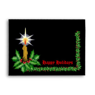 Night of Light Candle and Holly Garland Envelope