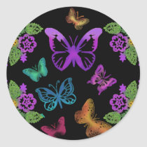 Night of the Butterflies Classic Round Sticker