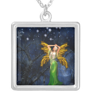 Night of the Faery Silver Plated Square Pendants
