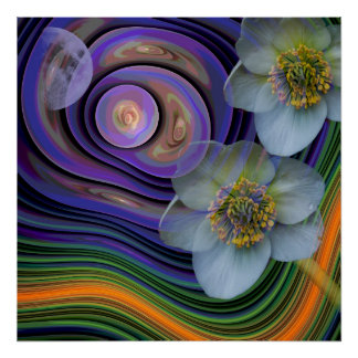 Night of the Helleboris, artistic abstract floral Poster