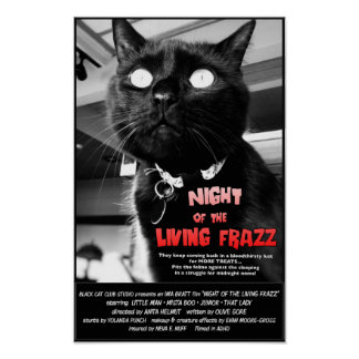 Night of the Living Frazz! Cat Horror Movie Poster