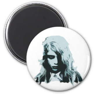 Night of the living zombie girl 2 inch round magnet
