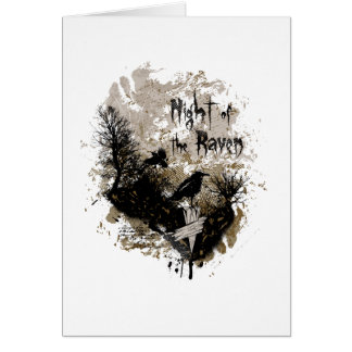night of the raven affected design greeting card
