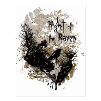 night of the raven affected design postcard