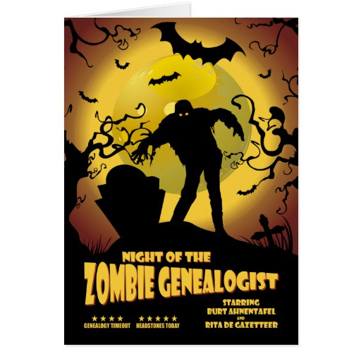 Night Of The Zombie Genealogist Cards