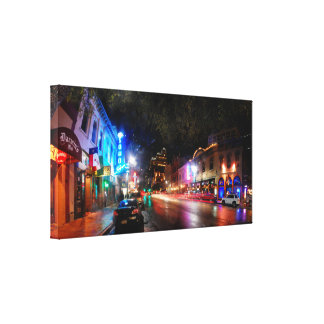 Night on 6th Street - Austin Texas Stretched Canvas Prints