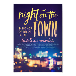 Night on the Town Bachelorette Party Invitation