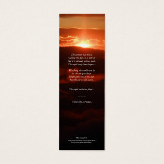 'Night Orchestra' Poetry Bookmark Mini Business Card