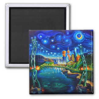 Night Out Across Lion's Gate Refrigerator Magnet
