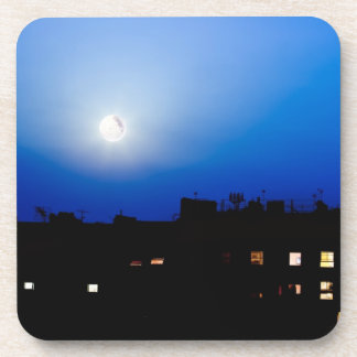 Night over London buildings with moon Drink Coaster