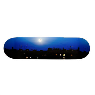 Night over London buildings with moon Skateboard