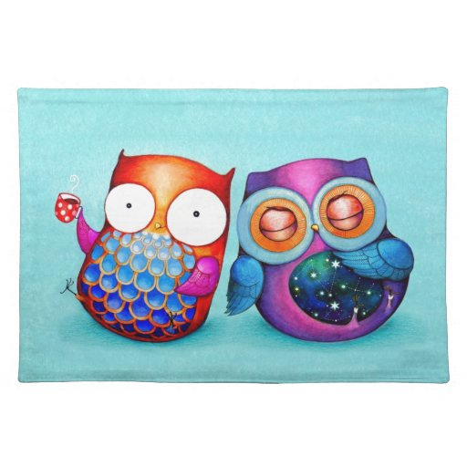 Night Owl and Morning Owl Cuties Cloth Placemat