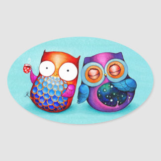Night Owl and Morning Owl Cuties Oval Sticker