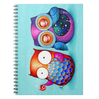 Night Owl and Morning Owl Cuties Spiral Notebook