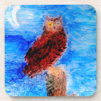 Night Owl Bird Art Beverage Coaster