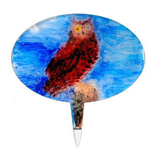 Night Owl Bird Art Cake Topper