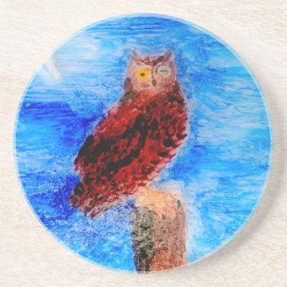 Night Owl Bird Art Coaster