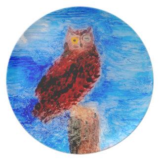 Night Owl Bird Art Dinner Plate