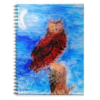 Night Owl Bird Art Notebook