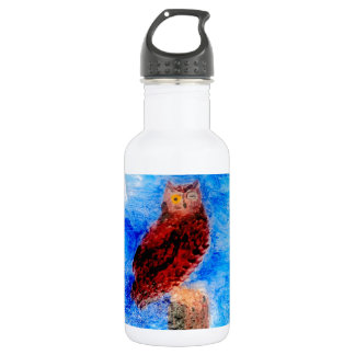 Night Owl Bird Art 18oz Water Bottle