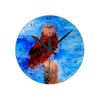 Night Owl Bird Art Round Clock