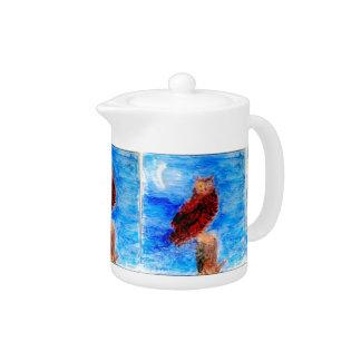 Night Owl Bird Art Teapot