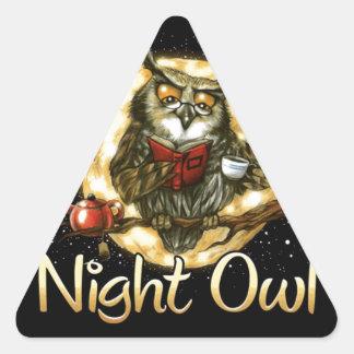 NIGHT OWL BIRD DESIGN TRIANGLE STICKER