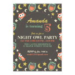 Night Owl Birthday Party Invitation for Kids