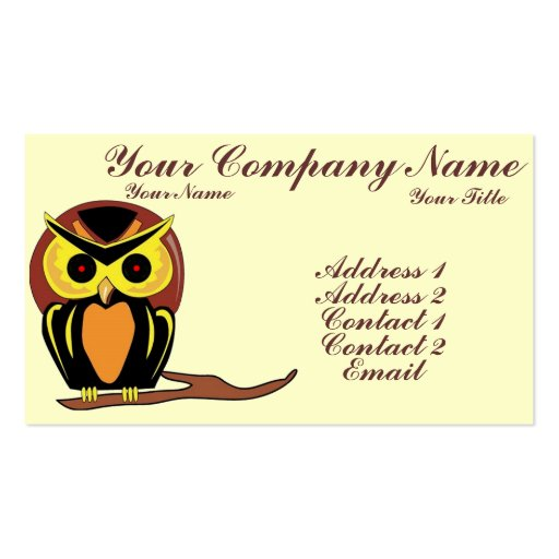 Night owl business card template zazzle for Owl business cards