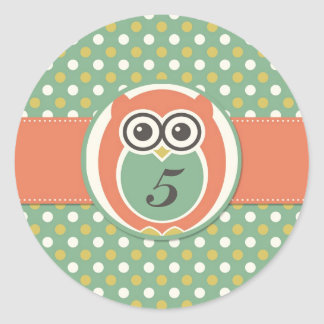 Night Owl Cartoon Birthday Party Deco Stickers