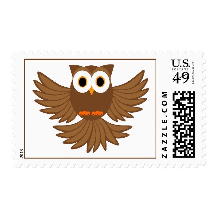 Night Owl Cartoon Postage Stamp