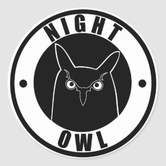 Night Owl Classic Round Sticker