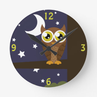 """Night Owl"" Round Clock"