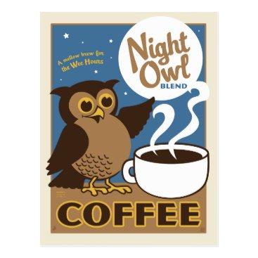 Coffee Themed Night Owl Coffee Postcard
