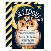 Night Owl Cute Sleepover Slumber Birthday Party Card